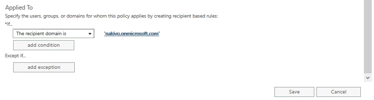 Recipient filters for Office 365 spam and malware protection