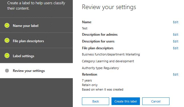 Reviewing label settings
