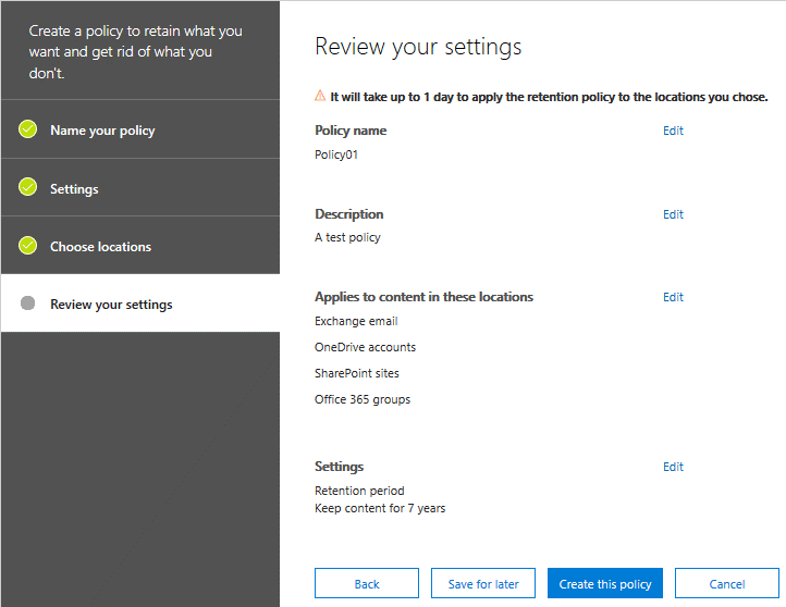 Reviewing settings before creating a new retention policy with data governance tools for Office 365