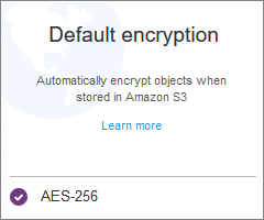 S3 encryption at rest is configured