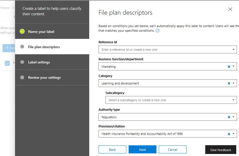 Selecting file plan descriptors