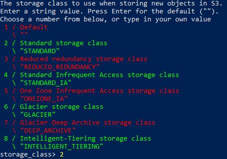 Selecting storage class