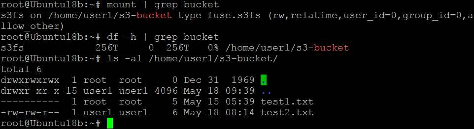 The Amazon S3 bucket has been mounted successfully on Linux boot
