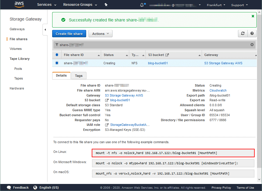 The NFS file share is created on AWS gateway storage