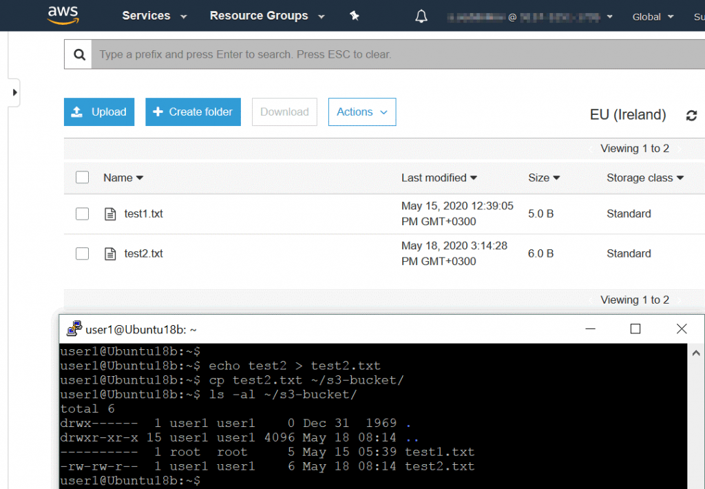 The data displayed in the web interface of AWS is synchronized after copying files in the Linux console