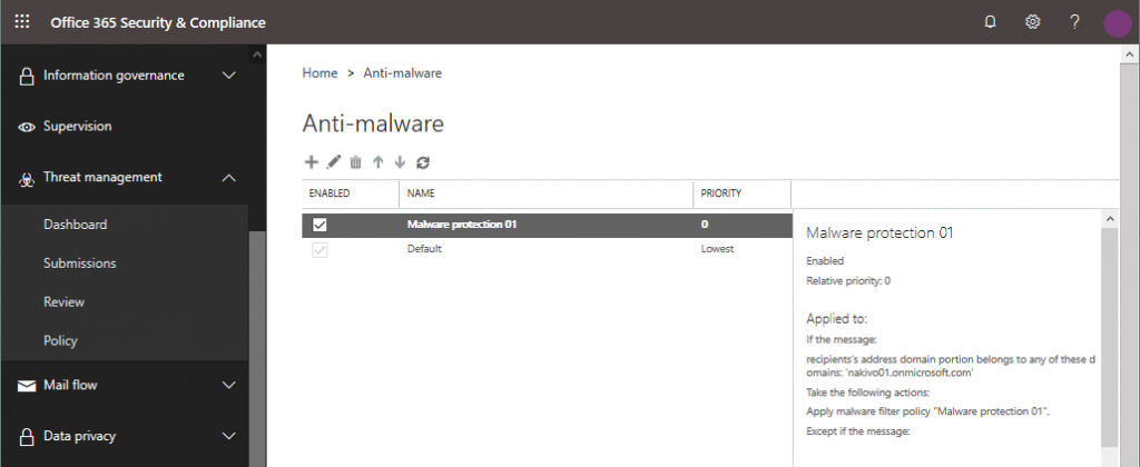 The list of anti-malware policies in Office 365