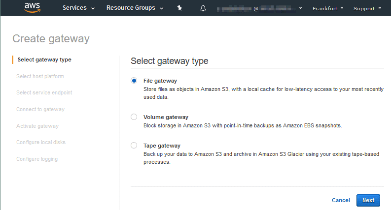 The types of Amazon Storage Gateway