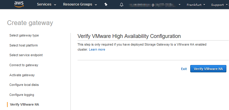 Verifying VMware High Availability configuration for Amazon Storage Gateway virtual machine