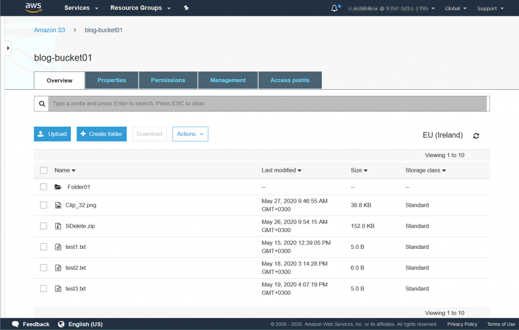 Viewing objects in the S3 bucket access to which is configured in Amazon Storage Gateway