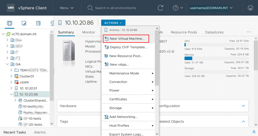 Creating a new virtual machine in VMware vSphere Client 7.0