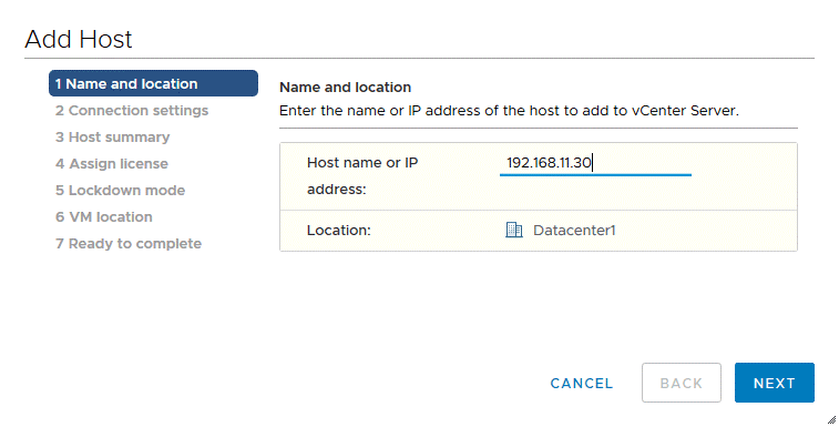 Entering-the-IP-address-of-the-ESXi-host-that-is-being-added-to-vCenter