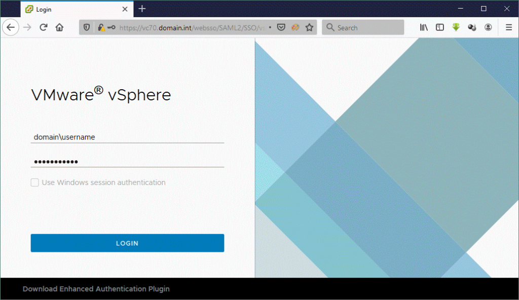 How to log in to VMware vSphere Client 7.0
