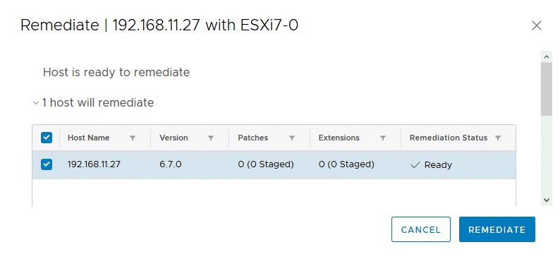 Remediating-the-selected-ESXi-6-7-host-for-upgrade-to-the-version-7