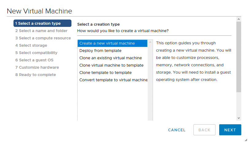 Selecting a VM creation type in the New Virtual Machine wizard in VMware vSphere Client
