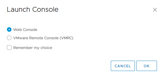 Selecting a Web Console or VMware Remote Console (VMRC) when connecting to a VM for guest OS management