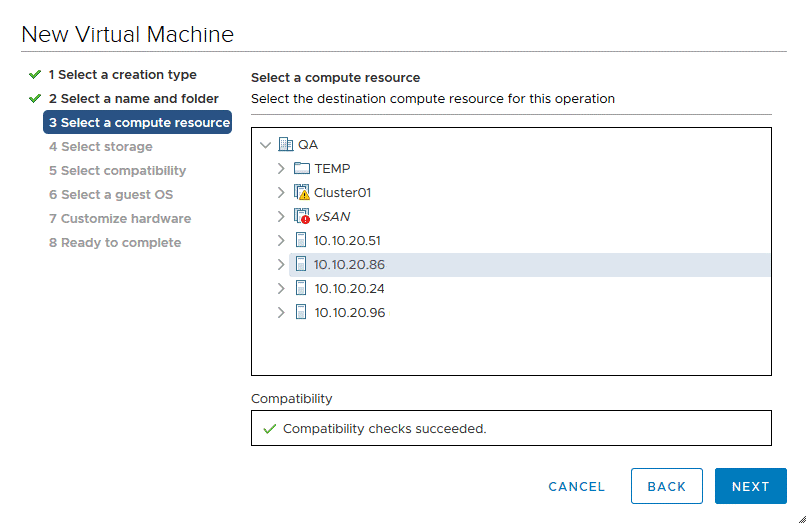 Selecting a compute resource (an ESXi host or cluster) to run a VM