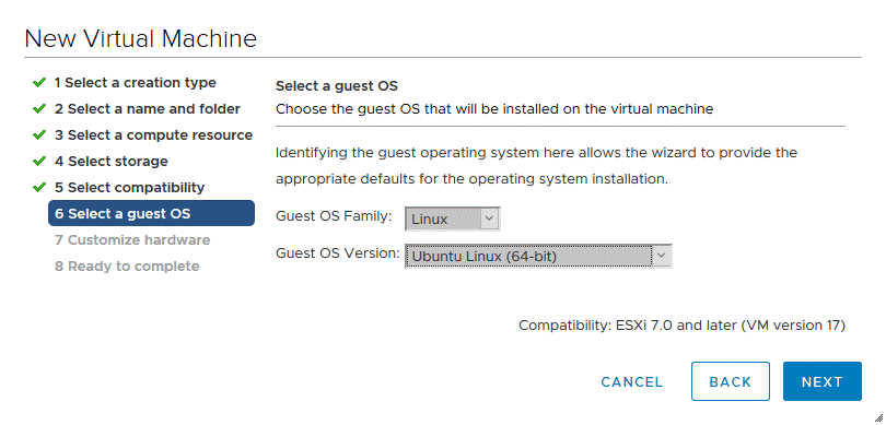 Selecting a guest OS family and version