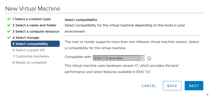 Selecting compatibility for a new virtual machine