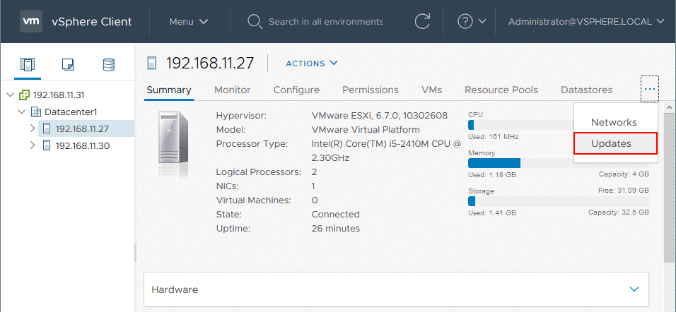 Selecting-the-Updates-tab-after-selecting-the-ESXi-host-that-must-be-upgraded