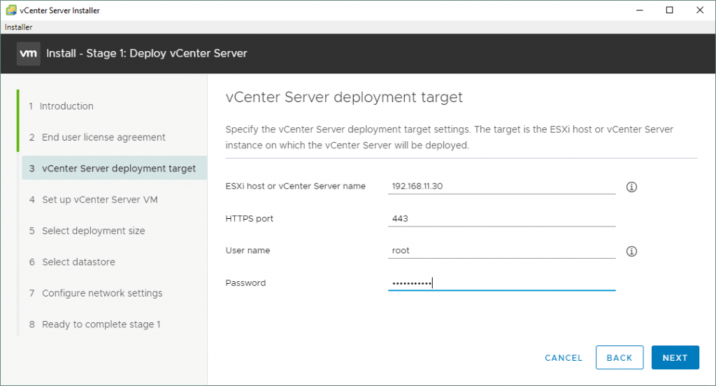 Selecting-the-VMware-vCenter-Server-7-deployment-target