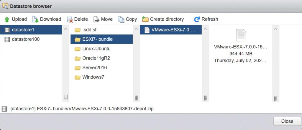 The-ESXi-7-offline-installation-bundle-is-uploaded-to-the-ESXi-datastore-for-ESXi-upgrade