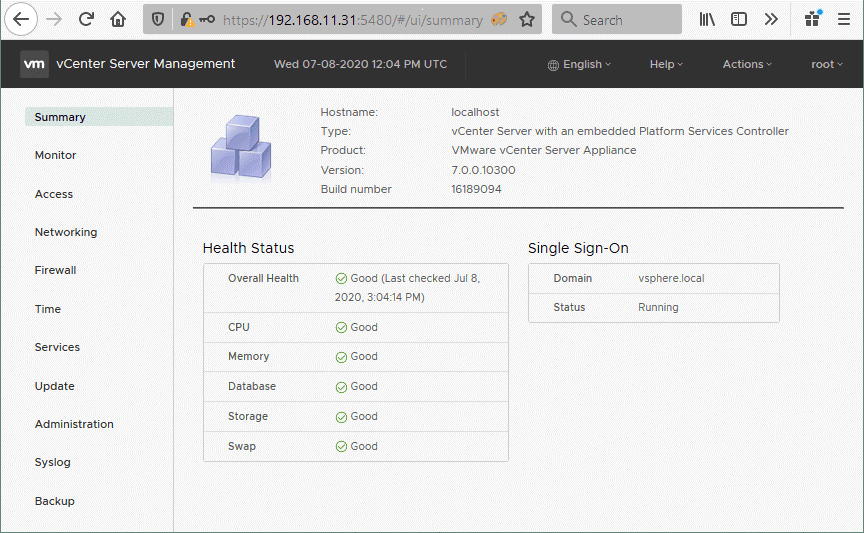 VMware-vCenter-Server-management-interface