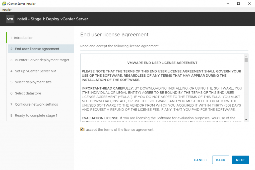 VMware-vSphere-installation-and-setup_the-End-User-License-Agreement-for-vCenter-7-setup