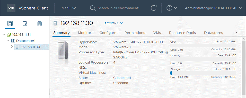 VMware-vSphere-setup_the-ESXi-host-is-added-to-the-datacenter-in-vCenter-7