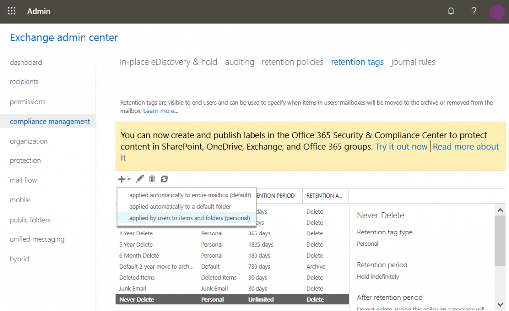 Creating-custom-retention-tags-for-the-Office-365-backup-policy