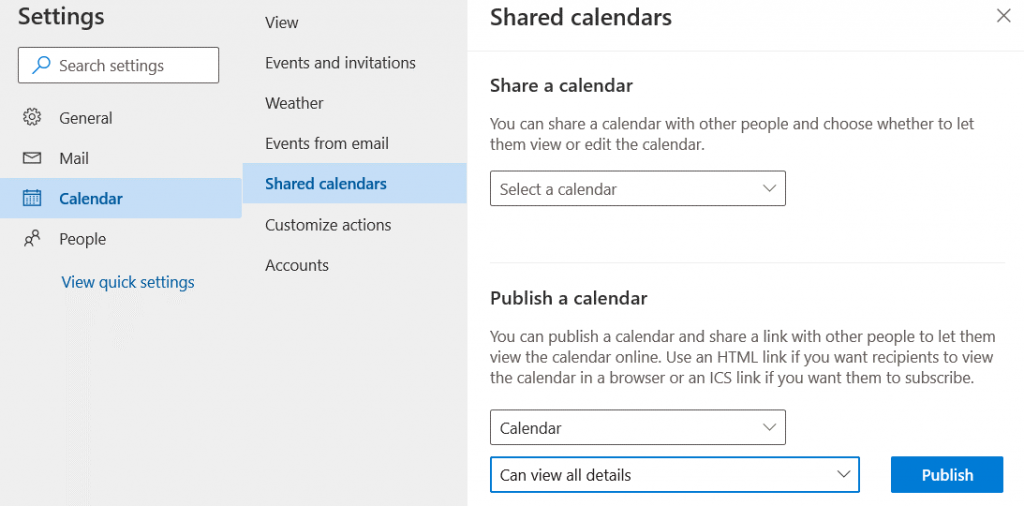 Publishing-Office-365-calendar-by-using-Outlook-Online