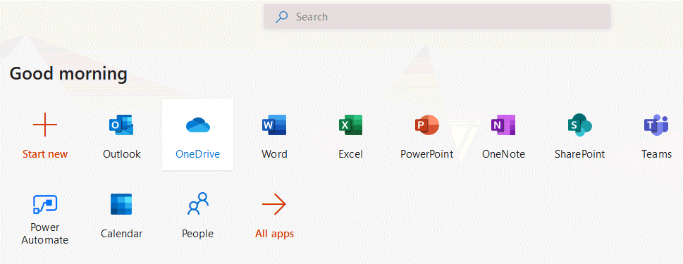 Selecting-OneDrive-in-the-web-interface-of-Microsoft-Office-365