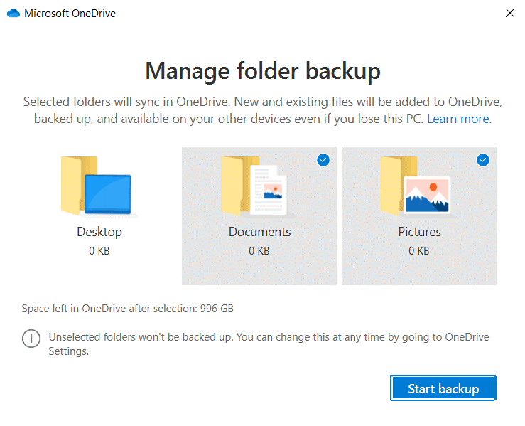Selecting-a-backup-folder-from-three-available-standard-folders