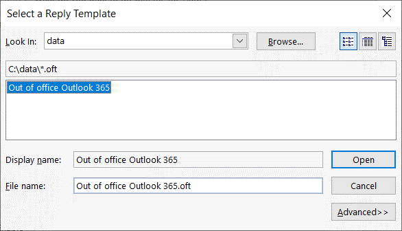 Selecting-the-Out-of-office-Outlook-365-template