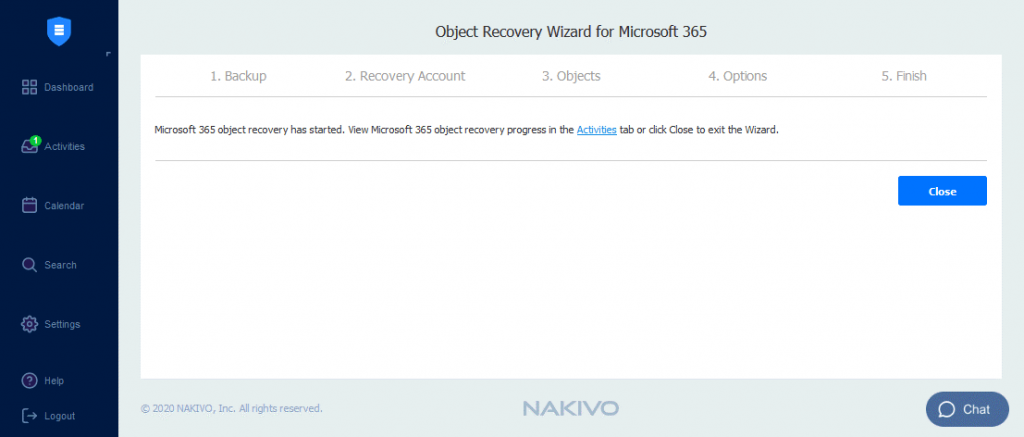 The-OneDrive-recovery-job-is-running-in-NAKIVO-Backup-&-Replication