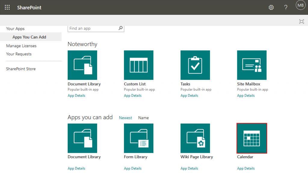 Adding-a-calendar-app-in-Microsoft-SharePoint-Online