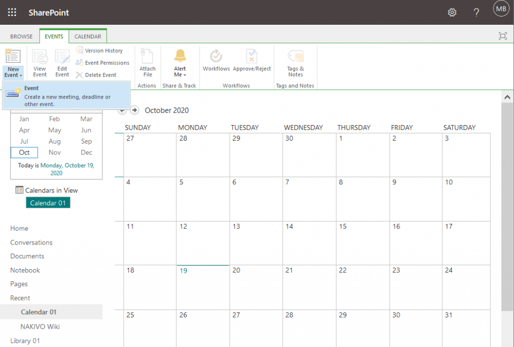 Creating-a-new-event-in-a-calendar-by-using-SharePoint