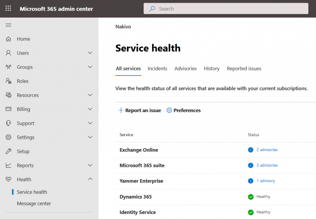 Office-365-troubleshooting-with-the-Service-health-tool-provided-by-Microsoft