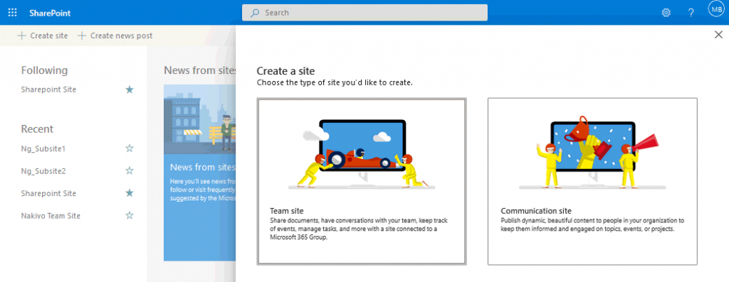 Using-SharePoint-Online-creating-a-new-site