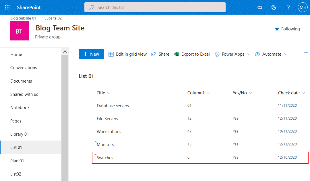 A new line is added in the SharePoint list and should be synchronized with the Excel table