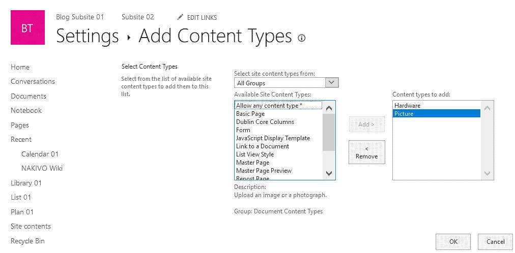 Adding content types