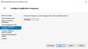 Configuring Hyper-V replication frequency