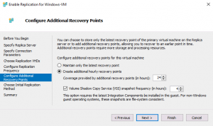 Configuring additional recovery points