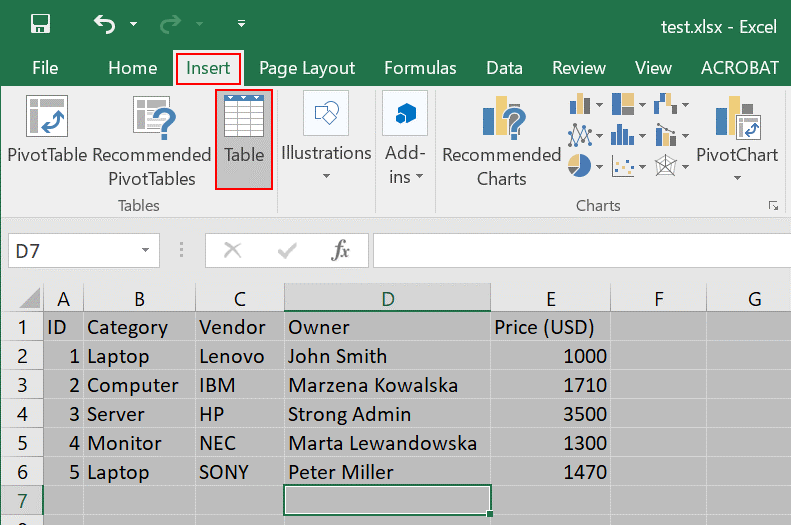Converting a spreadsheet into a table before starting export from Excel to a SharePoint list