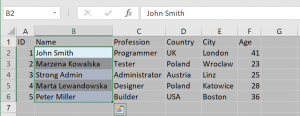 Copying a column from an Excel table