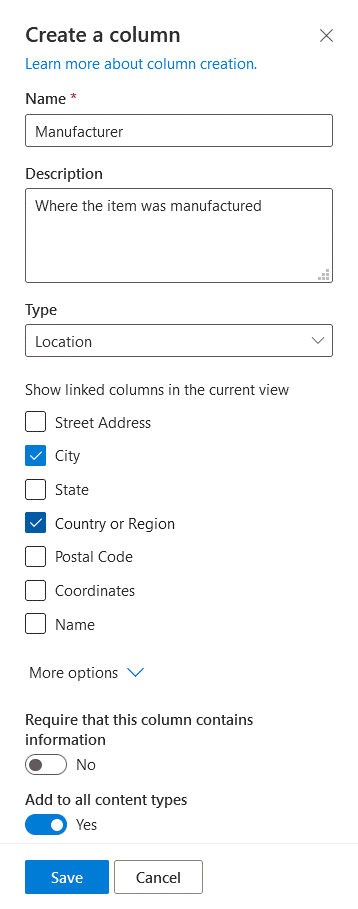 Creating a column with metadata for a library in SharePoint