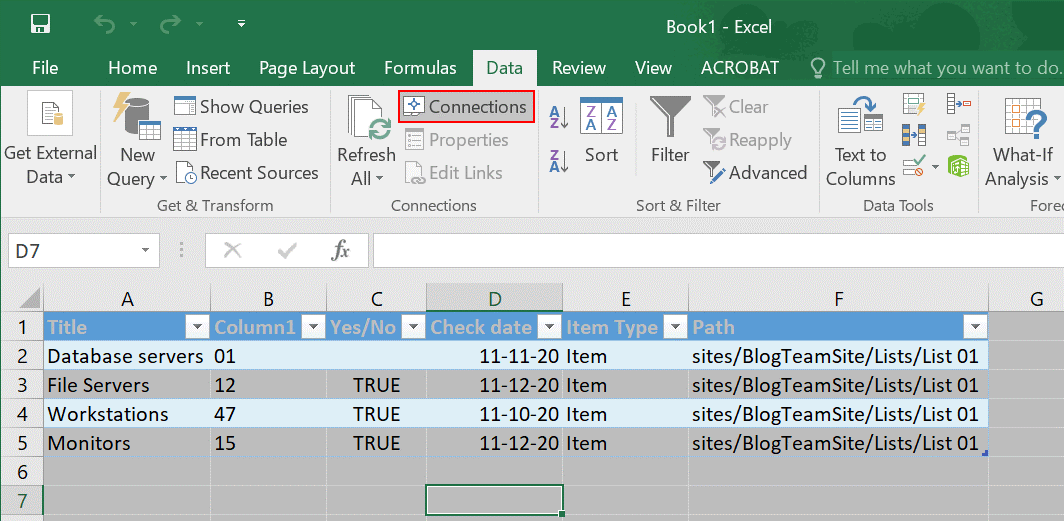 Data is not synchronized automatically and you should connect Excel to SharePoint list