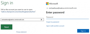 Enter Office 365 credentials to import Excel into SharePoint list