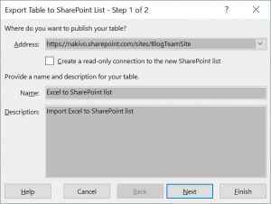 Exporting a table from Excel to a SharePoint list