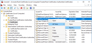 Exporting the CertReq test Root certificate