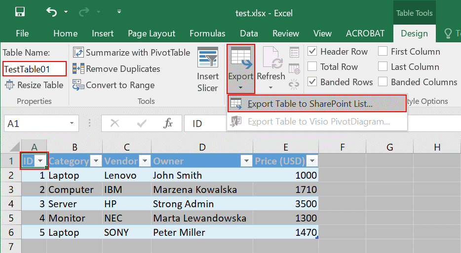 How to export a table to a SharePoint list and copy-paste data